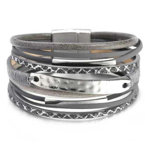 Hot-Selling Product Fashion Accessories Woven Multi-Layer Leather Ornament Plated Alloy Magnetic Snap Bracelet