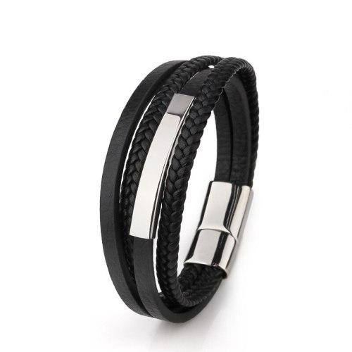 New Hot Sale Magnetic Snap Artificial Woven Multi-Layer Bracelet Stainless Steel Tube Leather Men's Bracelet 54151