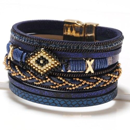 Bohemian Style Ornament European and American Eyes Cross-Border Hot Hand-Woven Bead Female Leather Bracelet