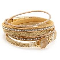 Popular Diamond Leather Multi-Layer Handmade Weave Vintage Gravel Bracelet Female European and American Jewelry