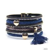 Cross-Border E-Commerce New Denim Women's Brace Lace Bracelet European and American Leather Multi-Layer Magnetic Snap Jewelry