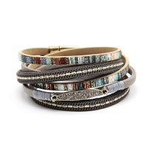 Cross-Border Hot Bohemian Ornament Vintage Hand Weaving Bracelet European and American Leather Alloy Jewelry Fashion