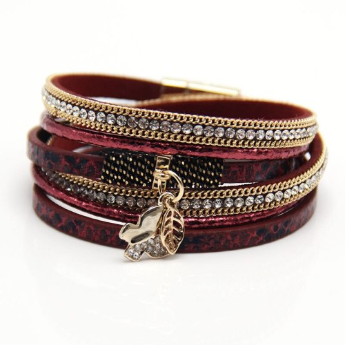 Hot Sale Hand-Woven Butterfly Pendant Bracelet Multi-Layer Alloy Magnetic Buckle Bracelet European and American Jewelry