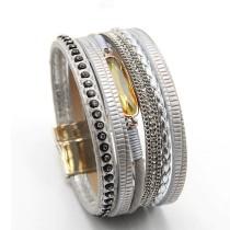 Magnetic Bracelet Multi-Layer Woven Leather Crystal Bracelet Ladies' Bracelet Europe and America Cross Border Export Ornament