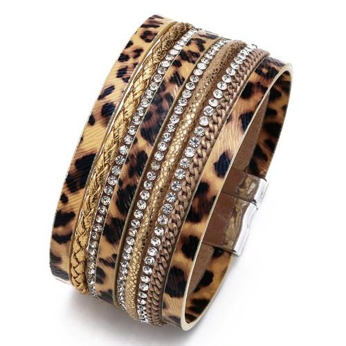 Cross-Border European And American Exaggerated Brick Magnetic Buckle Bracelet Leopard Skin Point Horse Hair Bracelet Ladies
