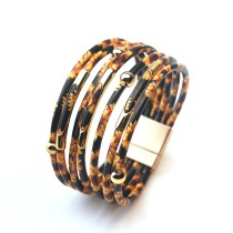 Cross-Border Hot Selling Hand-Woven Magnetic Buckle Leather Bracelet Female European and American Jewelry Popular Alloy Bracelet