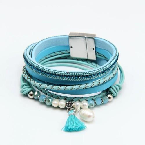 Tassel Crystal Pearl Bracelet Women's Leather Bracelet Magnetic Bracelet Jewelry European and American