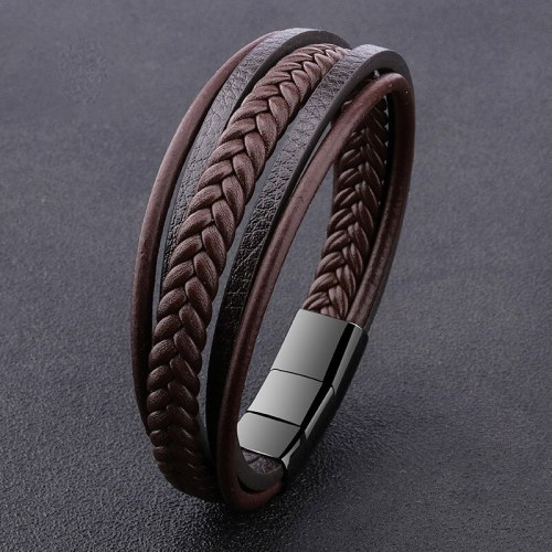 Hot-Selling Product European and American Retro Hand-Woven Stainless Steel Leather Bracelet Titanium Steel Bracelet Jewelry