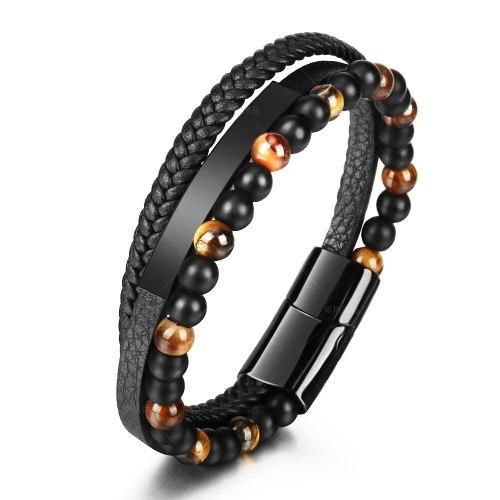 Tiger Eye Natural Stone Beads Bracelet Leather Rope Braided Bracelet Genuine Leather Multi-Layer Men's Cowhide Black Bracelet 5461