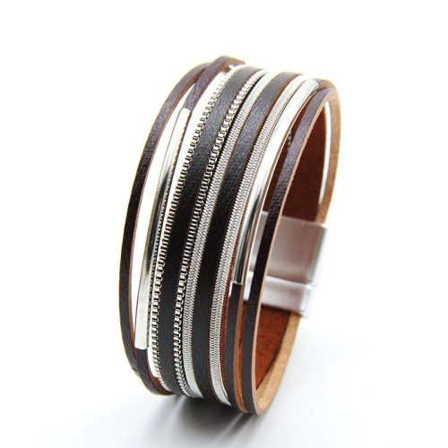 Cross-Border Hot Copper Tube Bracelet Multi-Layer Braided Rope Leather Bracelet Women's Simple Hand Jewelry Accessories