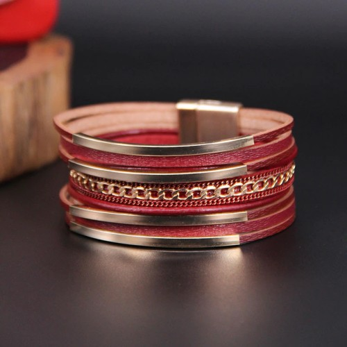 Hot Sale Bohemian Multi-Layer Bracelet Ethnic Style Gold Copper Tube Women's Magnetic Snap Bracelet