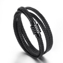 Men's and Women's Authentic Leather Weave Bracelet Multi-Strand Woven Bracelet Double-Layer Cowhide Titanium Steel Bracelet