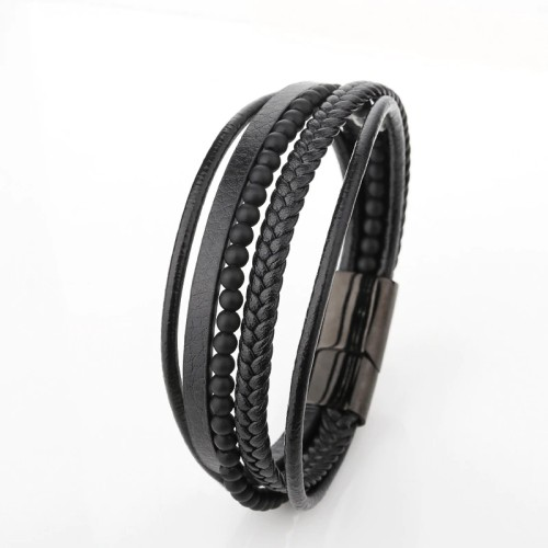 European and American Titanium Steel Leather Multi-Layer Hand-Woven Beads Bracelet Stainless Steel Magnetic Buckle Bracelet