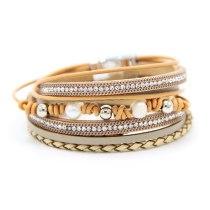 Popular European and American Fashion Magnetic Snap Bracelet Cowhide Woven Pearl Bracelet Women's Jewelry Wholesale