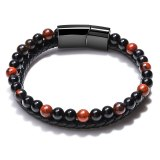 Natural Lucky Tigereye Beads Agate Bracelet European and American Men's Cowhide String Bracelet Vintage Jewelry