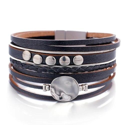 Cross-Border New European and American Fashion Multi-Layer Leather Ornament Braided Bracelet Bracelet