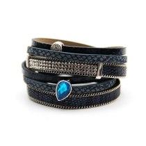 Hot Leather Cord Bracelet Women 'S Fashion Multi-Layer Alloy Crystal Rhinestone Magnetic Bracelet Bracelet Ornament