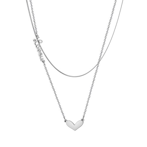 Hong Kong Style Trendy Classic Creative Love Pendant Versatile Double-Layer Stainless Steel New Women's Necklace Gb1974