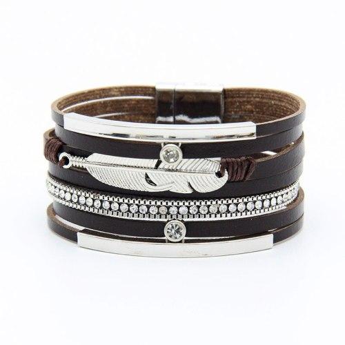 Bohemian Leather Multi-Layer Bracelet Ethnic Style Feather Pattern Wide-Brimmed Bracelet