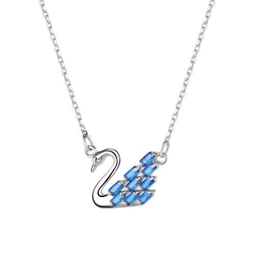 Japanese and Korean Ins Blue Smart Swan Necklace Simple Temperament Clavicle Chain Pendant for Girlfriend Gb016