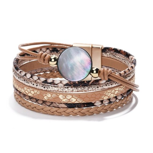 Jewelry Cross-Border Accessories Crystal Woven Bracelet Female Stylish Pendant Python Pattern Bracelet Alloy Magnetic Bracelet