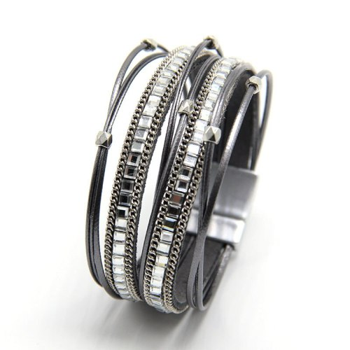 Leather Women's Jewelry Beaded Square Diamond Bracelet Fast Hot Sale New Product