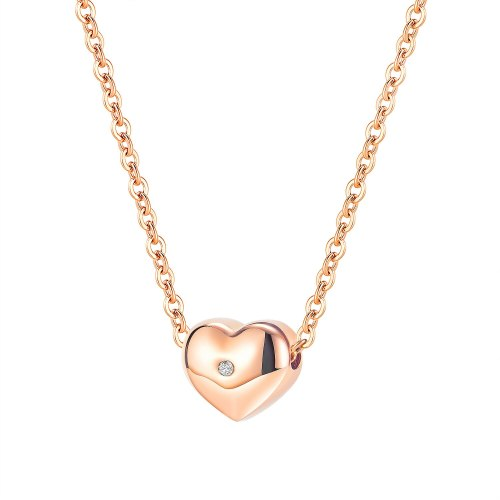 Ornament Japanese and Korean Style New Fashion Elegant Heart Pendant Personality Joker Women Stainless Steel Necklace 1960