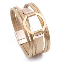 Cross-Border E-Commerce European and American Fashion Zinc Alloy Magnetic Snap Leather Woven Bracelet Women's Fashion Bracelet