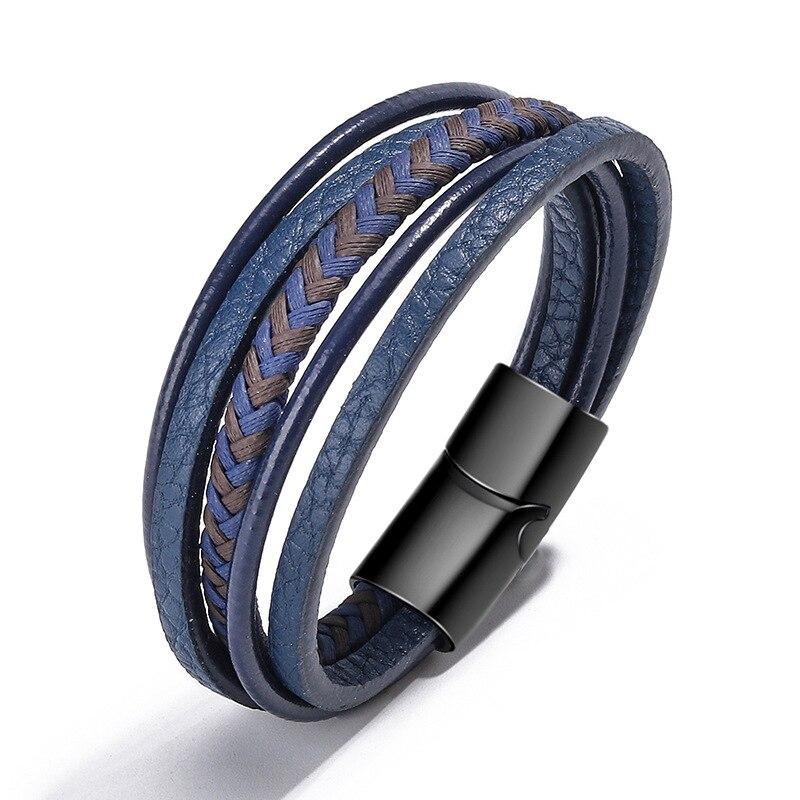 Cross-Border Accessories Handmade Rope Leather Ethnic Bracelet Men's Bracelet Magnetic Bracelet European and American Jewelry