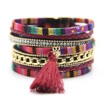 Ethnic Style Cotton String Tassel Bracelet Women's Fashion Multi-Layer Bohemian Magnetic Bracelet