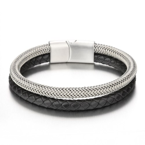 New Leather Rope Stainless Steel Leather Double Layer Braided Bracelet Men's Titanium Steel Bracelet in Stock