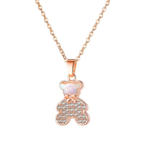 Japanese and Korean Mori Simple Zircon Teddy Bear Necklace Rose Gold Plated Necklace Bow Clavicle Chain Pendant Gb027