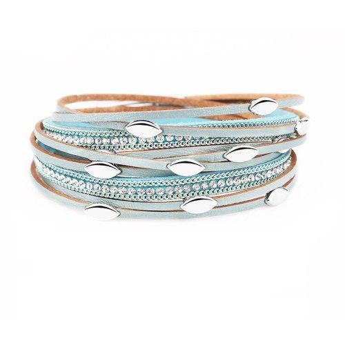 European and American Style Women's Leather Rhinestone-Encrusted Multi-Layer Tassel Bracelet Leaf Bracelet
