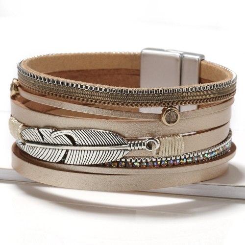 Hot Sale Leather Rope Handmade Braided Bracelet Alloy Feather Leaf Bracelet Women Jewelry Wholesale