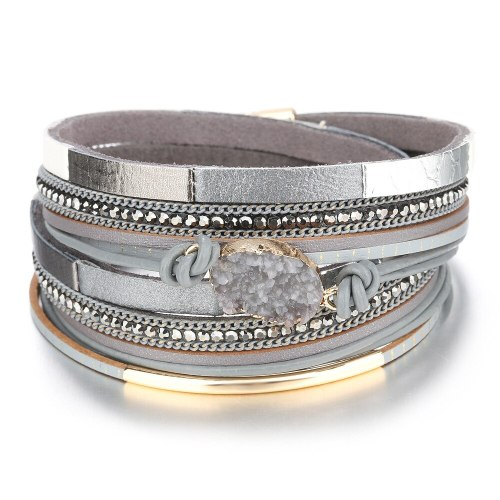Europe and America Cross Border Popular Color Matching Oval Gravel Bracelet Women's Magnetic Buckle Multi-Layer Leather Bracelet