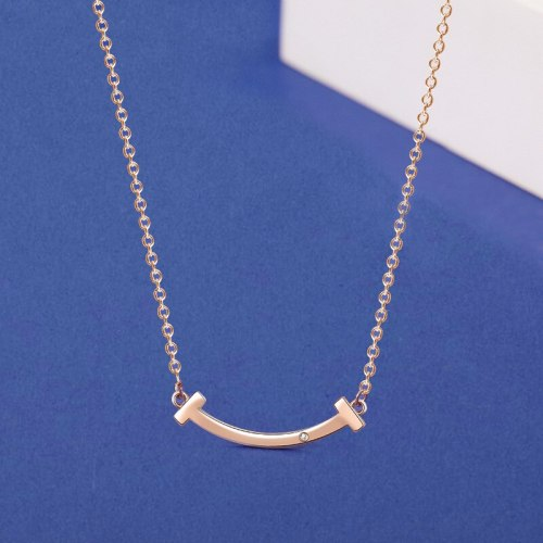 S925 Sterling Silver Smile Necklace Women's Diamond-Embedded Smiley Face Clavicle Chain Classic Diamond Pendant A1956