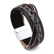 Woven Hand Strap Jewelry European and American Bracelets Women's Accessories Alloy Ornament Leopard Print Bracelet Simple