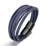 Hot Cowhide String Men's Bracelet Handmade Weave Vintage European and American Accessories Jewellery Magnetic Bracelet