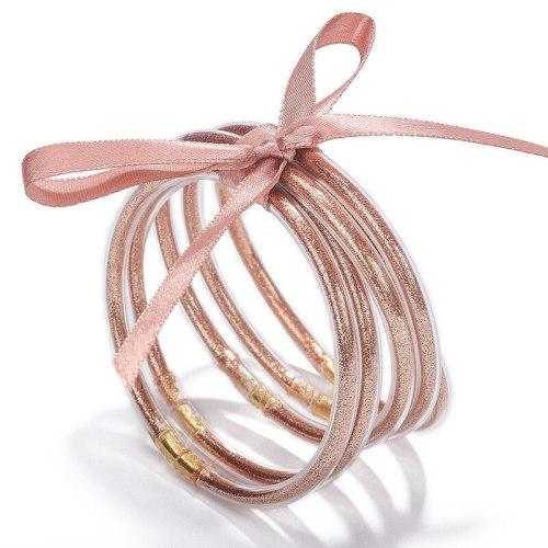 Creative New Multi-Layer Silicone Transparent Gold Powder Bow Bracelet Ribbon Bracelet Set