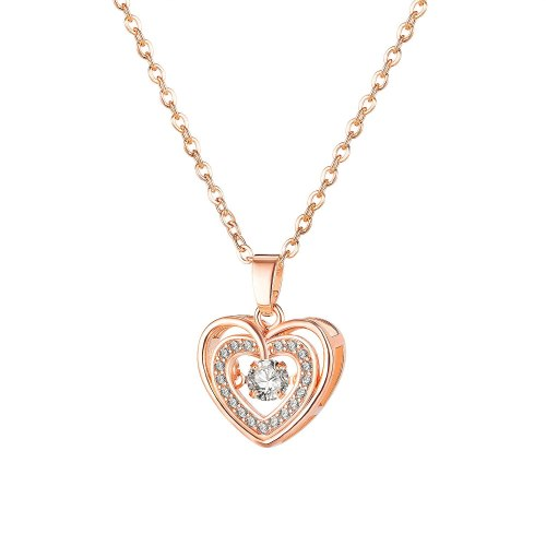 Korean Style Ins Simple Elegant Smart Heart Double-Layer Necklace Rose Plated Golden Zircon Clavicle Chain Pendant Gb029