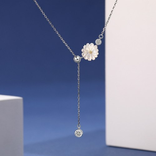 S925 Sterling Silver New Style Zircon Flower Necklace for Women Japanese and Korean Fashion Necklace A1904