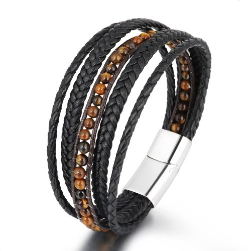 Cross-Border Hot Hand-Woven Leather Stainless Steel Natural Stone Bracelet Titanium Steel Men's Bracelet Jewelry