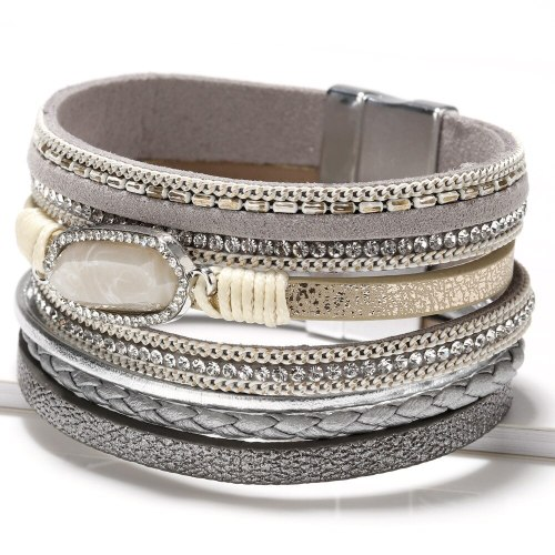 New Bracelet Women Bohemian Multi-Layer Bracelet Woven Crystal Accessories Leather Bracelet