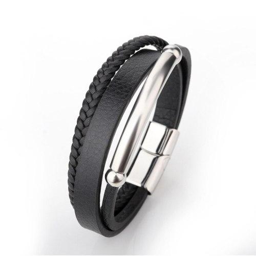Popular Multi-Layer Woven Men's Leather Rope Titanium Steel Bracelet Simple Stainless Steel Magnetic Snap Men's Bracelet Jewelry