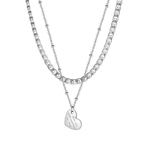 Women's Korean-Style Fashionable Titanium Steel Heart Pendant, Fashionable and Elegant Stainless Steel Necklace Gb1975