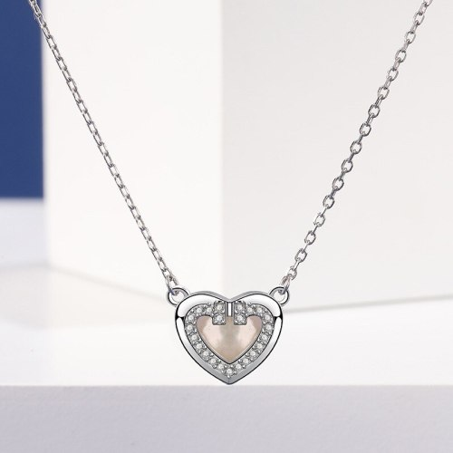 S925 Sterling Silver Loving Heart Necklace Women's Fashion Rhinestone Zircon Heart-Shaped White Shell Clavicle Chain A1905