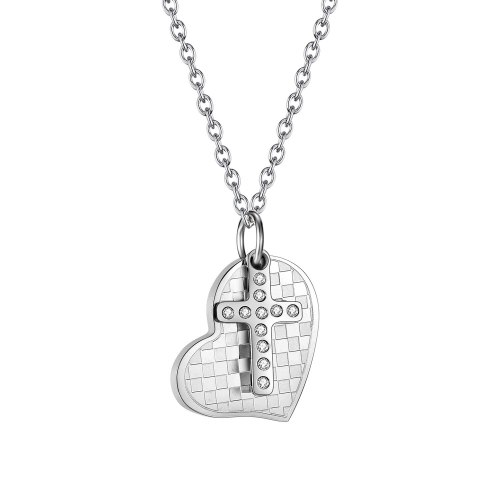 Ornament Summer New Hip-Hop Fashion Love Cross Pendant Personality Simple Women's Stainless Steel Necklace 1981
