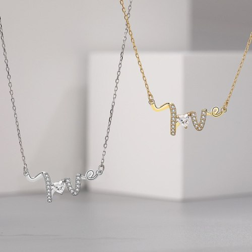 S925 Sterling Silver Love Letter Necklace Fashion Trending Ins Korean Style Heart-Shaped Zircon Clavicle Chain A1876
