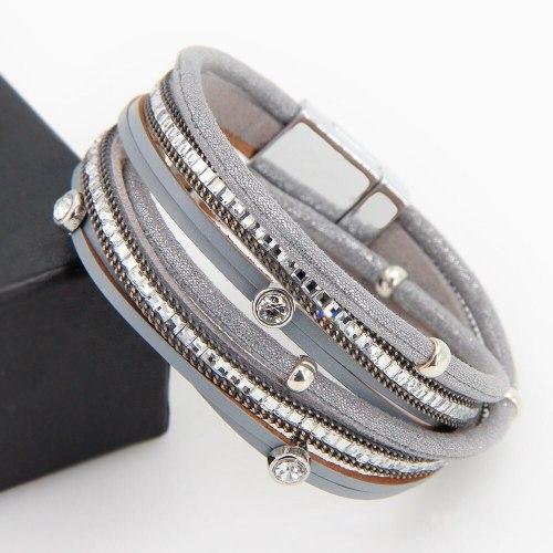 Cross-Border Hot Diamond Leather Bracelet Women's Jewelry Simple Ornament Handmade Braided Bracelet Hand Strap