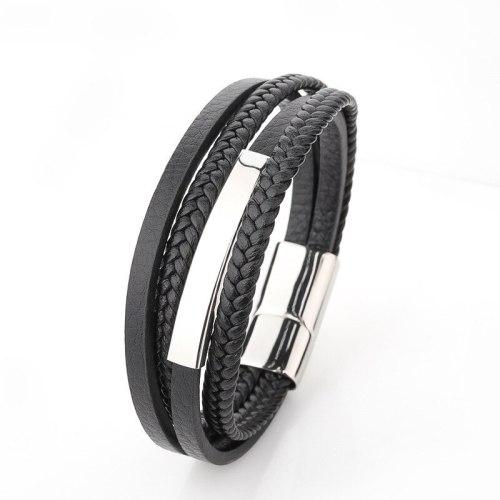 Hot Sale Titanium Steel Magnetic Buckle Bracelet Multi-Layer Woven Stainless Steel Men's Leather Bracelet Wholesale